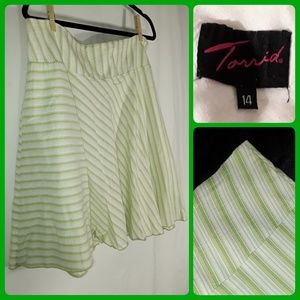 Torrid Green Striped Skirt